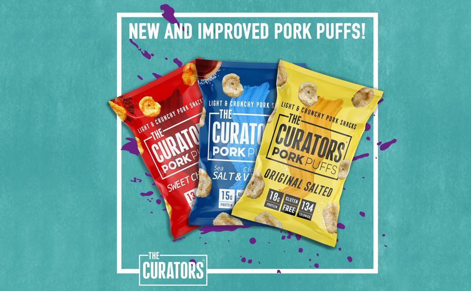 Curators Pork Puffs, Biltong, jerky, beef, crunch, pork