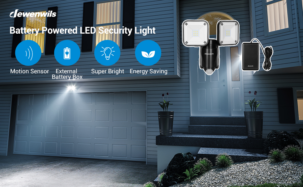 DEWENWILS Outdoor Security Light Motion Sensor Light Battery Operated HHSL02A