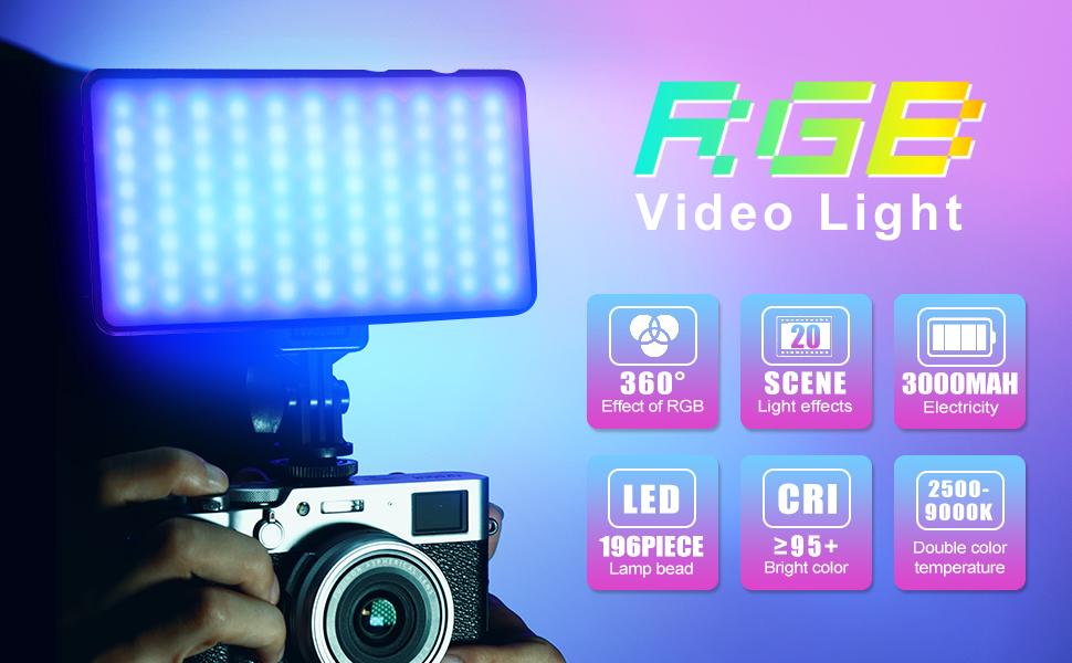 VIJIM VL 196 Wiederaufladbare eingebaute Batterie-LED-Kameralampe RGB-Videoleuchte dimmbare 2500K-9000K-Vollfarbe 20 Lichteffektmodi LED-Videoleuchte mit Soft Light Board und Wabenrahmen