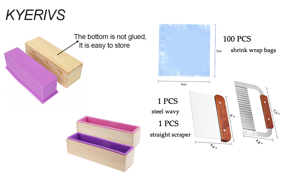 42oz Flexible Rectangular Loaf Molds with 2 Wood Boxes 100 Shrink Wrap Bags Kyerivs Silicone Soap Molds Kit Stainless Steel Wavy and Straight Scraper for Making Supplies