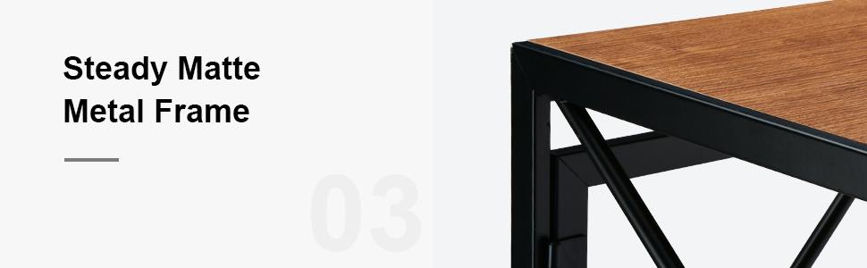 steady matte metal frame computer desk