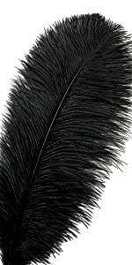 12pcs Natural Black Ostrich Feathers 10-12inch  for Wedding Party Centerpieces