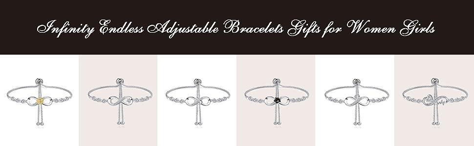 Infinity Endless Adjustable Bracelets Gifts for Women Girls