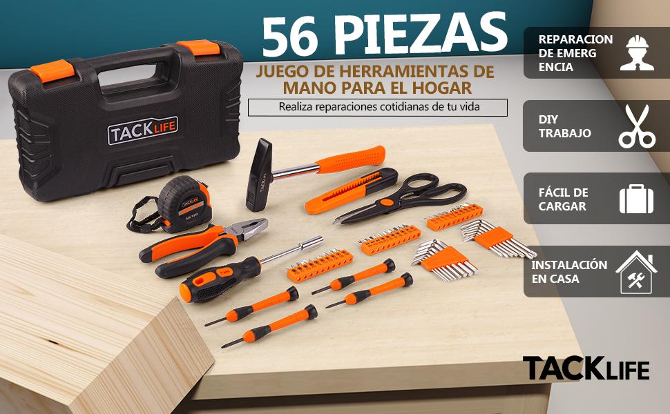 TACKLIFE Caja de Herramientas 56 Piezas, HHK3B Maletín de Herramientas Multiusos, Universal de Reparación Conjuntos Bricolaje para Casa: Amazon.es: Bricolaje y herramientas