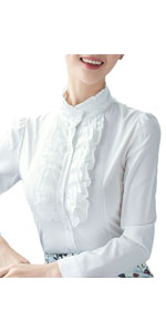 Nanxson Mujeres Vintage Lotus Ruffle Chiffon Blusa Camisa ...