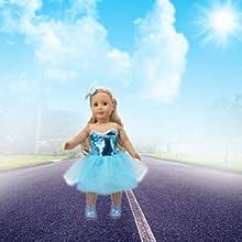 Princess blue dress for 18inch American girl doll