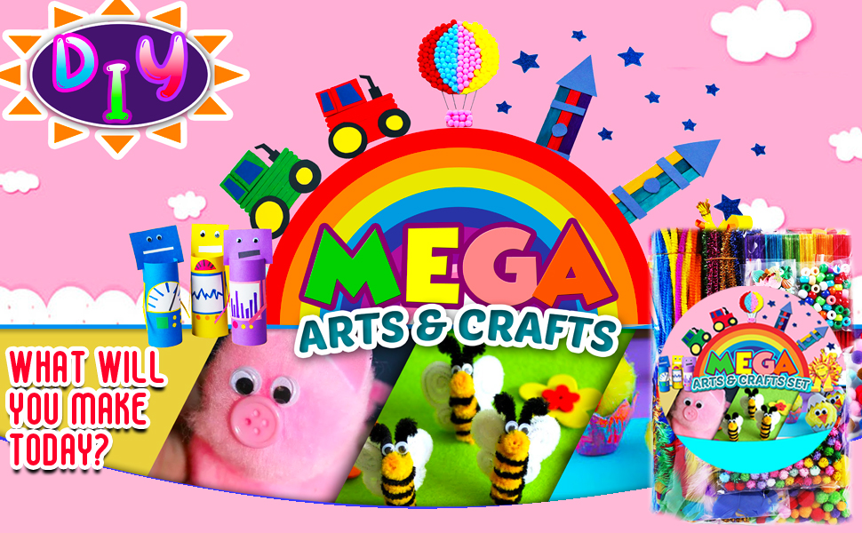 Arts and Crafts Supplies Jar for Kids - Craft Art Supply Kit for Toddlers 8