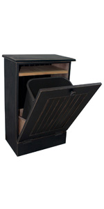 Sawdust City Wood Printer Stand with Tilt-Out Waste Paper Bin