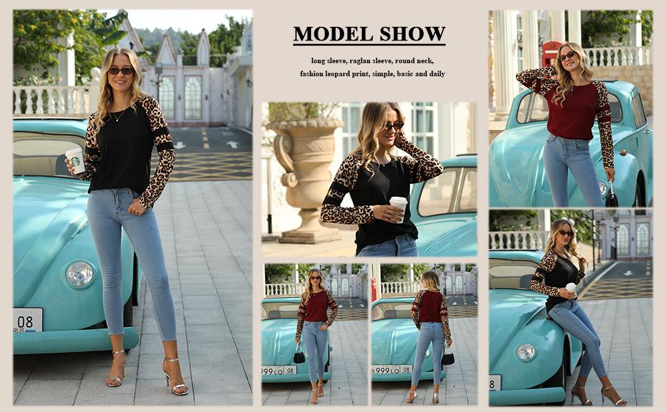 STYLEWORD Women's Long Sleeve Leopard Print Raglan T Shirts Color Block Casual Tunic Tops