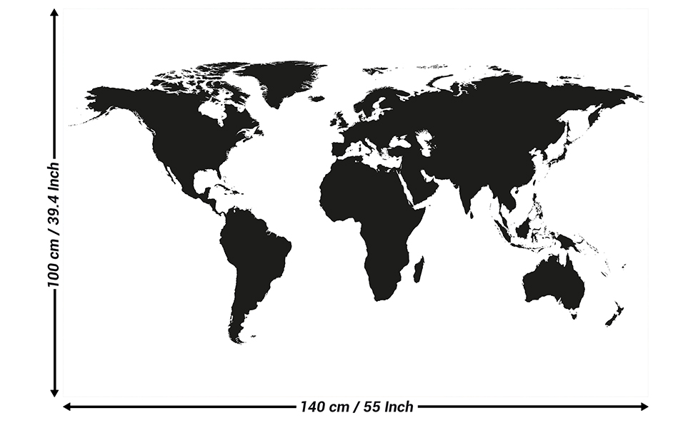 Amazon Com Poster Black And White Wold Map Poster Atlas
