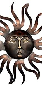 "Bellaa 22038 Celestial Sun Metal Wall Art 35"" inches Handmade"
