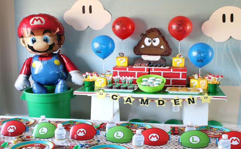 Amazon Com Molecole Mario Birthday Party Pack Super Mario Bros Happy Birthday Banner Party Supplies Decorations Birthday Party Supplies Decor Toys Games