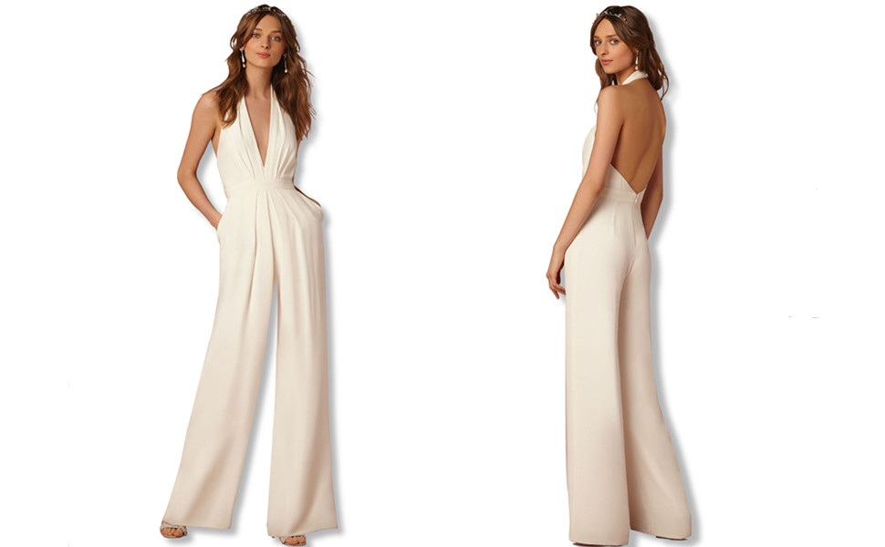 Padaleks Womens V Neck Halter Jumpuits Rompers High Waisted Wide Leg Long Pants Wedding Party Rompers Overalls