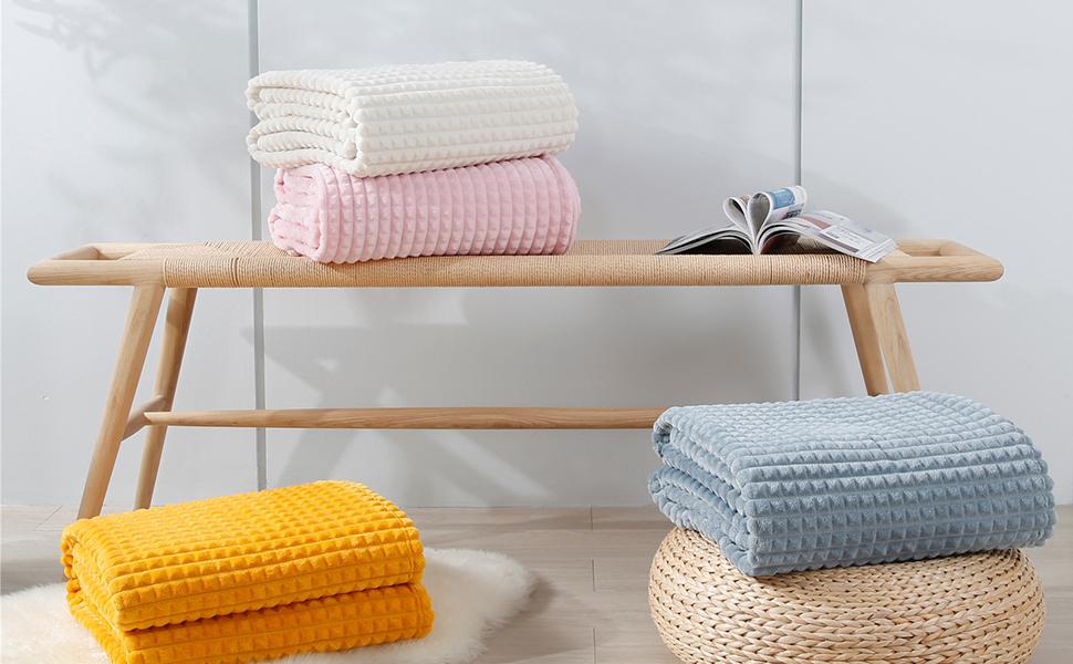 3D plaid throw blanket