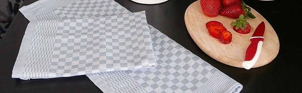ZOLLNER Torchons 10er env 45x60 cm 10x Blanc Gris /à Carreaux