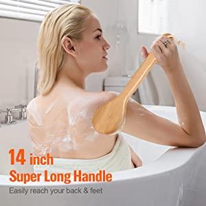 Natural Bristle Dry Skin Exfoliating Brush Body Scrub for Flawless Skin