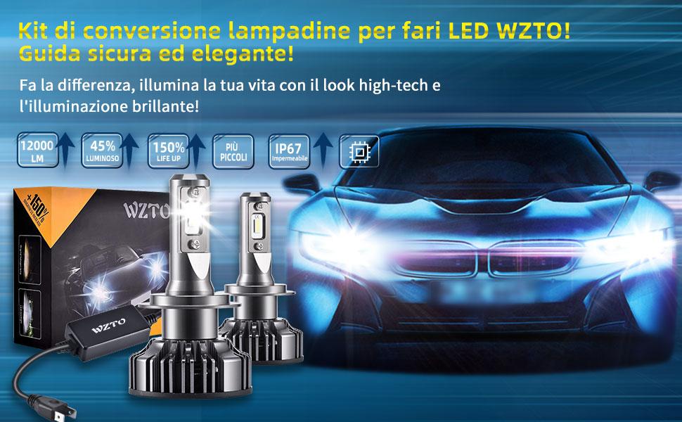 Lampadine LED H7,WZTO 70W 12000LM Fari Abbaglianti o Anabbaglianti per Auto Lampada Sostituzione per Alogena Lampade e Xenon Luci,Impermeabilit/à IP67 Kit LED,Chip CSP,12V-24V,6000K Bianco Freddo