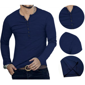 YTD Men's Long Sleeve Henley Shirts