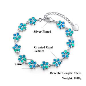 Gorgeous Hawaiian Blue Opal Bracelet B3010 Birthday Mom Wife Valentine Gift Statement PC Sterling Silver Blue Opal Pear-Shape Bracelet