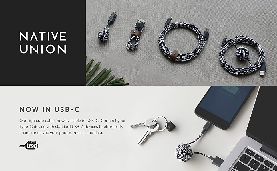 Native Union USB A to USB C Key Cable for Type C Device Fast Charging unbreakable ultra strong