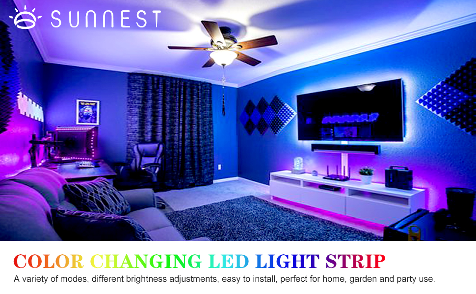 Amazon Com Led Strip Lights 16 4ft 300 Leds Waterproof Flexible Color Changing Rgb 5050 Led Light Strip With Remote Control And 12v Power Supply Led Lights For Bedroom Home Kitchen Indoor Outdoor Decoration