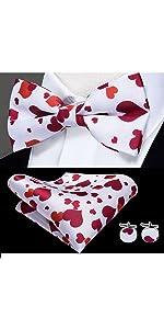 red heart bowtie flower pocket square cufflinks set