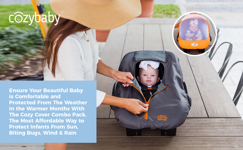 Cozy Cover Combo Pack, Infant Carrier Covers, Sun & Bug Cover, Lightweight cozy cover