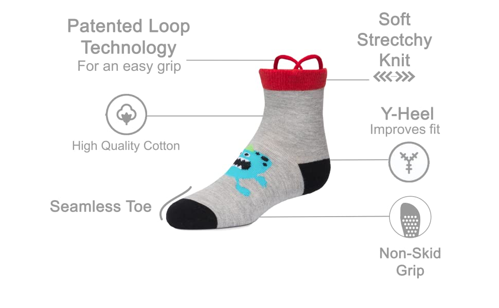 Seamless Toe Girls Toddler Socks with Non Skid Grippers Easy Pull Up Loops