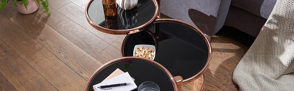 Couchtisch Set Wohnzimmertisch Kupfer Glas Design Modern Retro