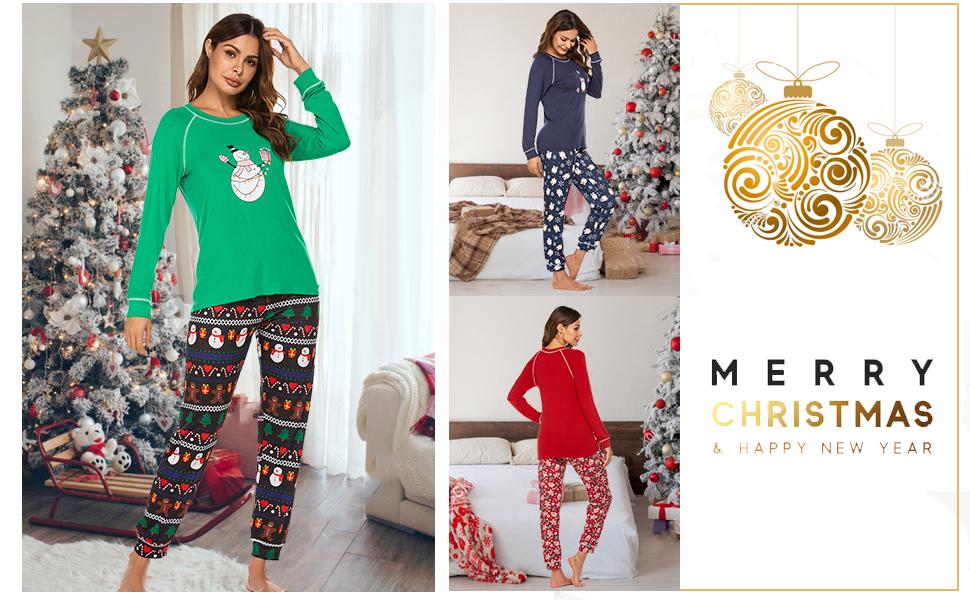 Ekouaer Pajamas Women's Long Sleeve Sleepwear with Long Pants Soft Loungewear Pj Set