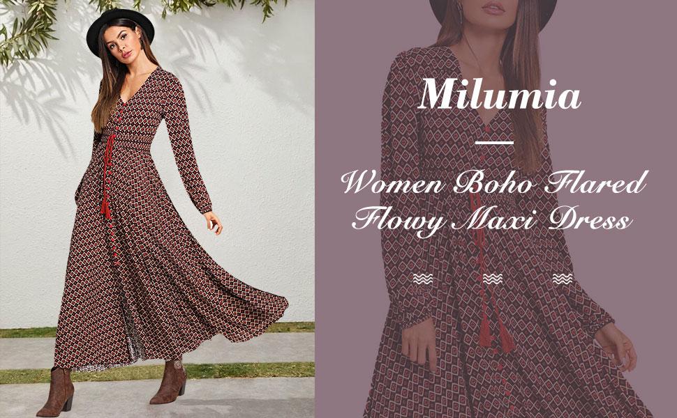 Milumia Women Vintage Boho Flared Maxi Dress