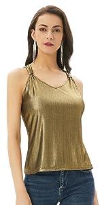 Camiseta sin Mangas para Mujer Tela Brillante Camiseta