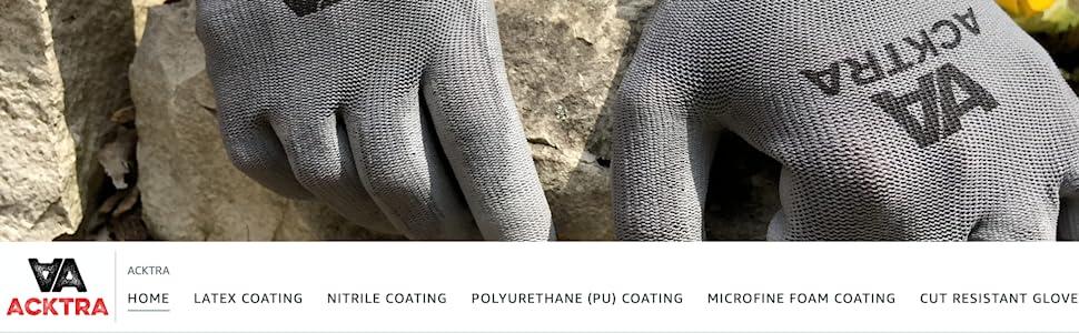 Acktra work safety gloves coated nylon cotton nitrile pu polyurethane latex cut resistant level 5