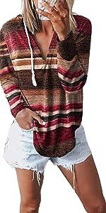 Drawstring V Neck Pullover Hoodies