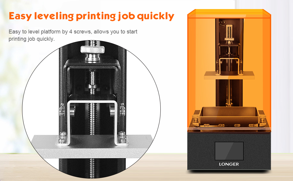 Longer Orange 10 3D Printer, UV LCD Resin with 2.8-Inch Full Color Touch Screen Off-line Print Build Volume 3.86