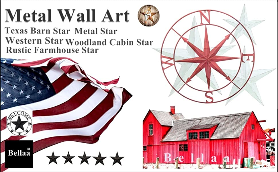 Metal wall star outdoor décor for  barn ranch farmhouse patio porch rustic woodland cabin western