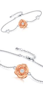 rose flower bracelet and necklace