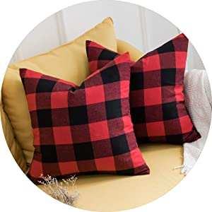 pack of 2 classic retro checkers plaids cotton linen soft 24x24 26x26 inch inches red black