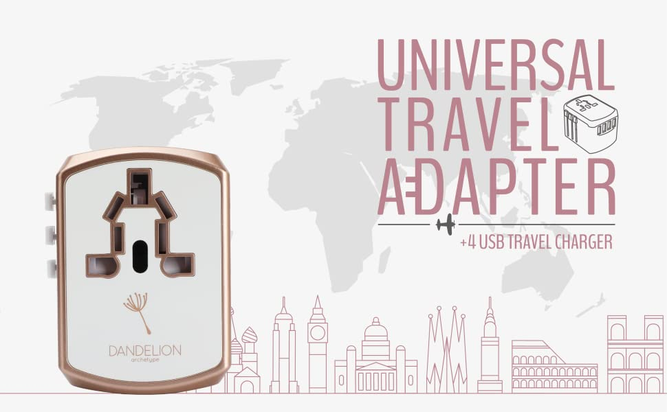DANDELION Rose Gold White travel adapter 2 usb ports travel universal plug socket shapes converter