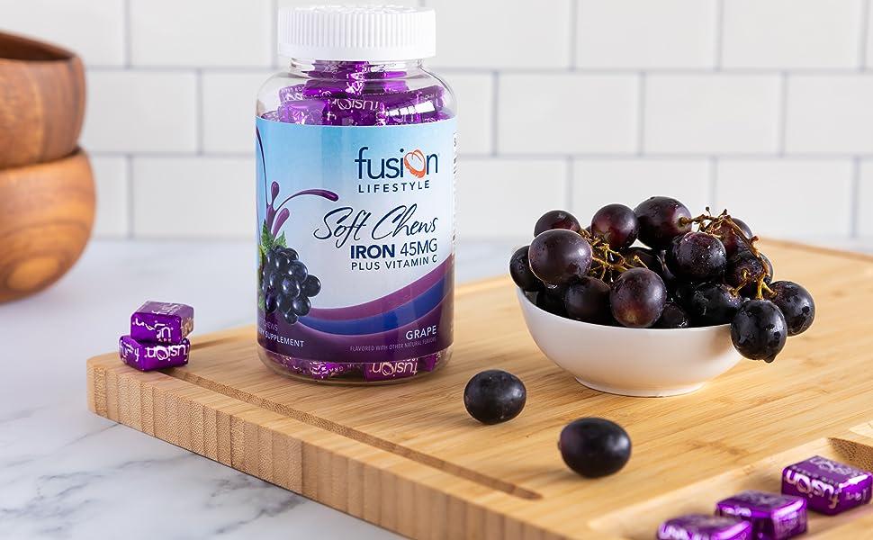 Fusion Lifestyle Iron Supplement Anemia Women Soft Chew Grape