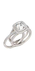 Jeulia 1Carat Rose Gold Plated Wedding Band halo cz cubic zirconia 925 silver wedding band rings