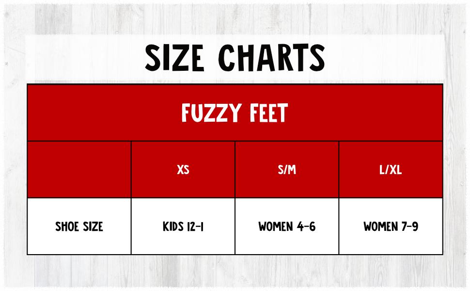 Fuzzy Feet Size Chart