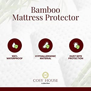 Full Size Luxury Bamboo Hypoallergenic Waterproof Mattress Protector Protection Against Stains Allergens Bacteria Breathable Noiseless Fitted Bed Cover Stays Cool Fluids Dust Mites
