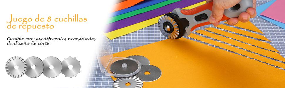 cierre de seguridad y mango ergon/ómico papel espuma y piel perfecto para tela AGPTEK Juego de 8 cuchillas de repuesto para diferentes tipos de corte