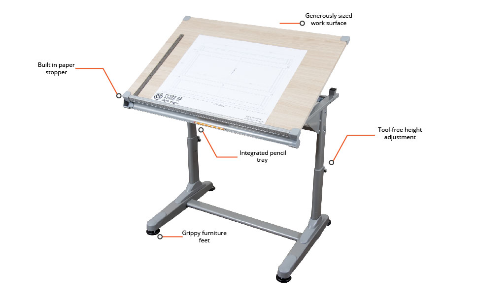 Stand Up Desk Store manual height adjustable drawing drafting table ergonomic features office space