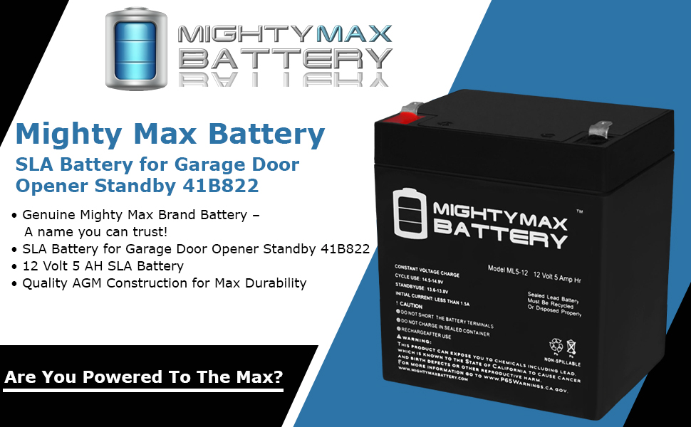Amazon Com Mighty Max Battery 12v 5ah Sla Battery For Garage Door Opener Standby 41b822 Brand Product Home Audio Theater