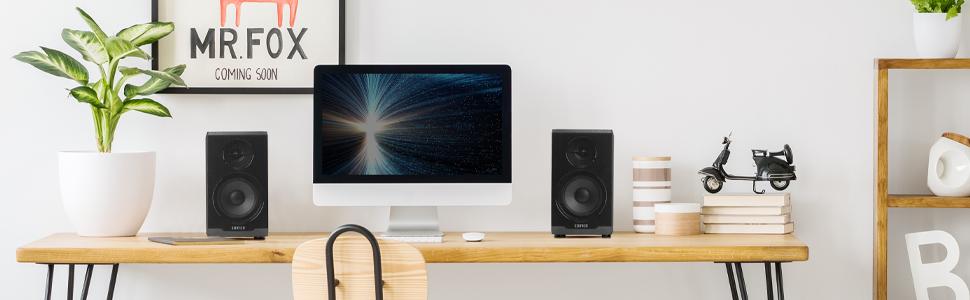 Active Bluetooth Computer Speakers - 2.0 Bookshelf Speaker - Powered Studio Monitor