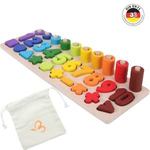 puzzle kids toddlers playing learning autism number count montessori color shapes toys wooden baby