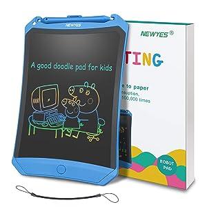 NEWYES Tableta de Escritura LCD 8,5 Pulgadas, Pantalla Colorida, con Tecla de Bloqueo, Imanes, Lápiz, Ideal para Niños y Adultos Uso en el Hogar, la ...