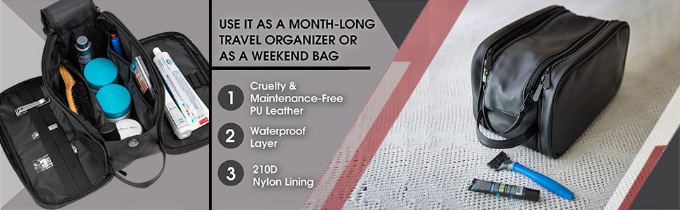 weekend bag travel organizer waterproof water resistant dopp cosmetic kit black shaving kit for men